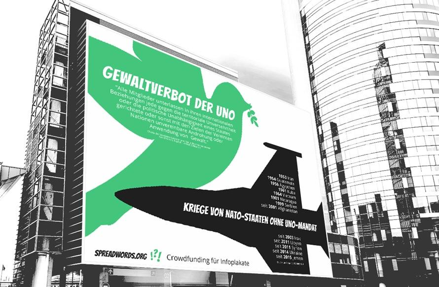 UN-Gewaltverbot stärken! | Plakat vor UN-Campus jetzt unterstützen!